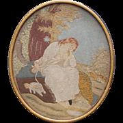Georgian PAIR Needlework Embroideries Felt Applique English Circa 1790