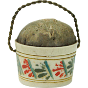 "Antique Georgian Pin Cushion Emery Bucket Pail Doll Size 1"" English Circa 1810"