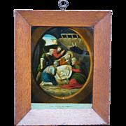 Georgian Reverse Print on Glass English George III Period Circa 1800 Later Frame Birth of Chri