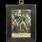 Nelson At The Nile Georgian Miniature Engraving  Nursery Print Circa 1820's
