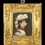 Georgian Miniature Watercolor Portrait English School Circa 1810