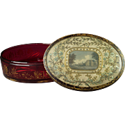 Georgian Cranberry Glass Box with Silkwork Lid of Panton House England  Circa 1815