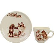 SALE Antique 19th Century Child's Creamware Cup and Saucer A Dog's Life So Sweet Circa 1870
