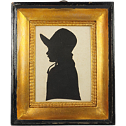 SOLD RESERVED JH Antique French Miniature 19th Century Child Silhouette Gorgeous Frame Circa 1