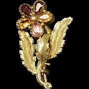 Antique RARE Georgian Flower Brooch Multi Colored Foil Paste Closed Back Circa 1820 STUNNING