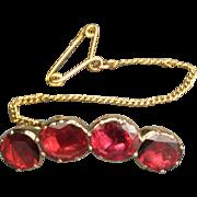 Antique Georgian Foiled Garnet Lace Pin RAVISHING Circa 1820s