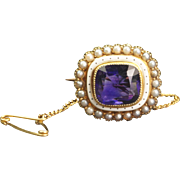 Antique Edwardian Tiny Brooch Amethyst and Seed Pearl Circa 1910 SOO Downton