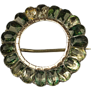 Georgian Green Foil Paste Pin Brooch Circa 1780
