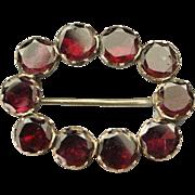 Georgian Foiled Garnet Lace Pin Fichu Brooch 9 Kt Gold Circa 1810