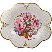 SALE PENDING Circa 1810 English Porcelain Dessert Dish Superb Hand Painted Floral George III P