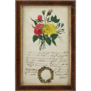 SOLD Circa 1850 Biedermeier Watercolor Painting and Poem Framed Signed Dated So Lovely