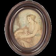 Georgian Circa 1790 Miniature Stipple Engraving After Angelica Kauffman