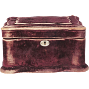 Circa 1870 French Velvet Jewelry Casket Vanity Sewing Box RARE Claret Color Delicious