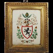 Georgian Armorial Watercolor Painting Stunning Frame English Circa 1790
