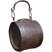 19th Century English Cider Keg Coopered Costrel Firkin Circa 1840