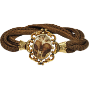 SALE PENDING Antique Mourning Hair Bracelet Circa 1840 English