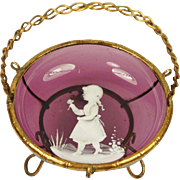 Antique 19th Century Cranberry Glass Ormolu Dish French Circa 1880 Mary Gregory Style Decorati