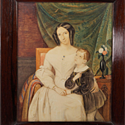 Exceptional 19th Century Watercolor Portrait European School Circa 1830s A Mother's Love