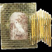 Antique Victorian Brass Photo Frame Opening Garden Gate Quirky Circa 1890 Dog Interest