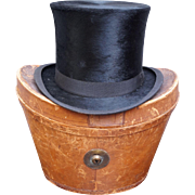 Victorian Scottish Silk Plush Top Hat Original Leather Fitted Case A & J Scott Aberdeen C 1900