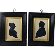 Antique 19th Century Pair Silhouettes English Great Yarmouth Palmer Family Connection Circa 18