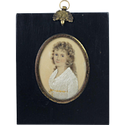 Antique Georgian Portrait On Silk With Needlework Highlights RARE Silkwork  Circa 1790