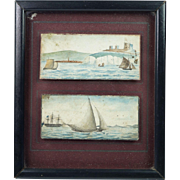 Antique Maritime Folk Art Painting English Marine Scenes Dover Castle Kent Circa 1810 Sailors