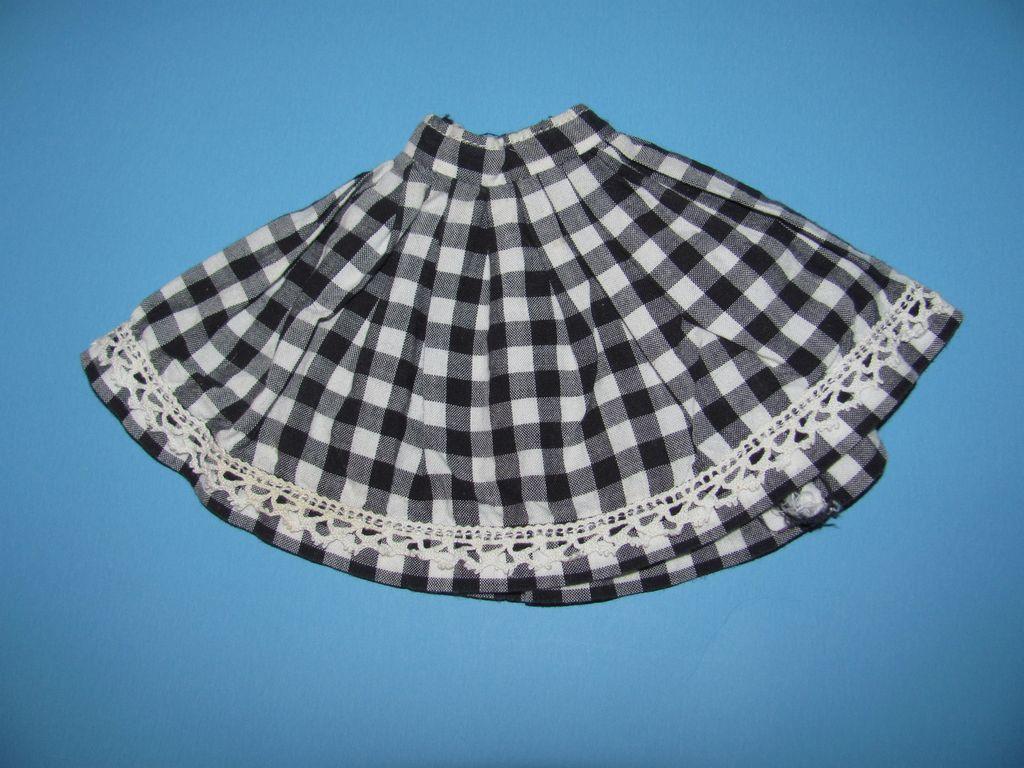 Black & White Check Doll Skirt