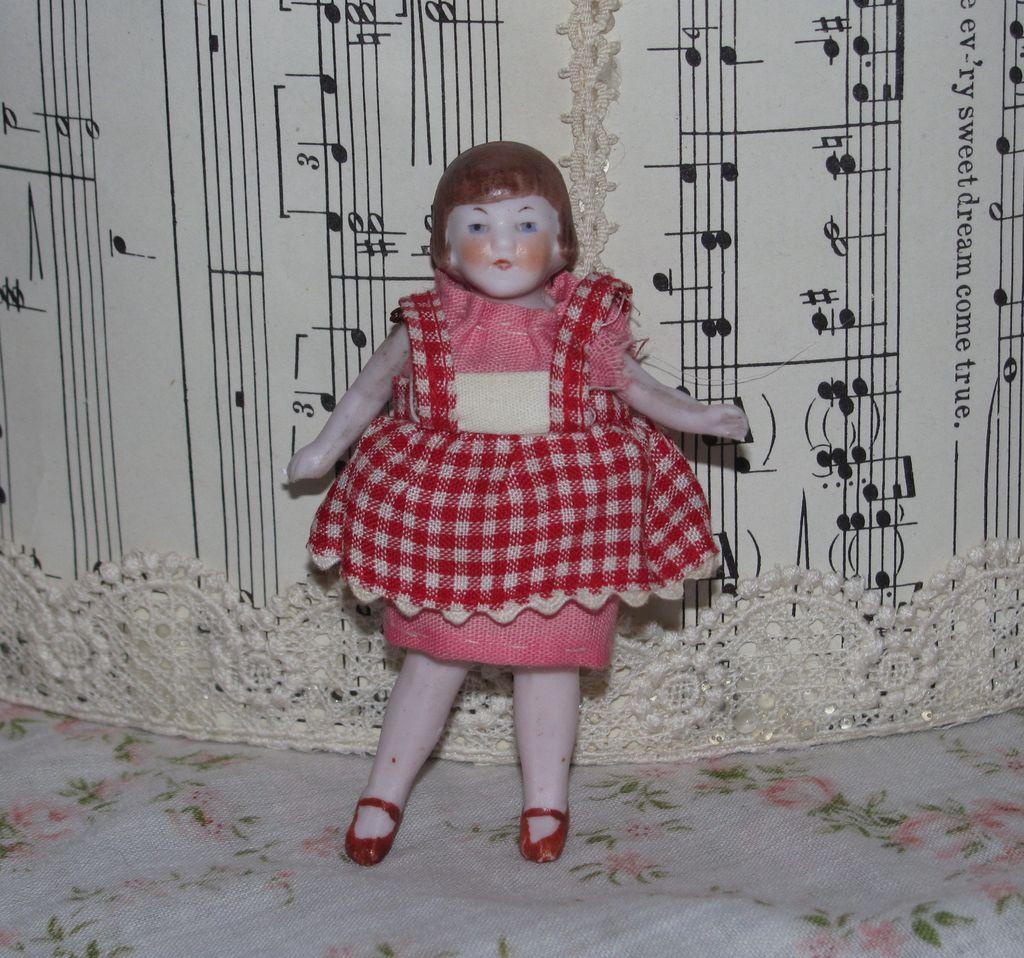 Miniature German Bisque Dollhouse Girl - Bobbed Hair