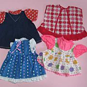 4 Vintage Factory Doll Dresses