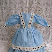 Gingham Doll Dress With Eyelet Insertion Trim
