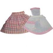 2 Vintage Doll Aprons - Pink Themed