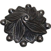 SOLD Menlo Sterling Silver Button - Raised Carved Flower