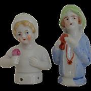 2 Porcelain Half Dolls / Pincushion Dolls