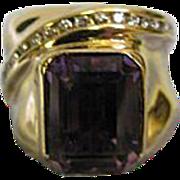SALE Emerald Cut 6.13ct Purple Amethyst & 14K Gold Ring