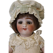 "1910 Antique 7"" All Bisque Kestner 150 Doll With Dimples, Molded Two Strap Shoes"