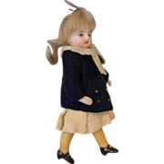"3.5"" All Bisque Swivel Head German Bisque Doll w. Yellow socks 2 Straps Shoes"