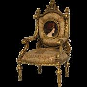 """SALE Antique 7"""" c.1860 Bronze Chair with gold gilt & Miniature Portrait Dollhouse"""
