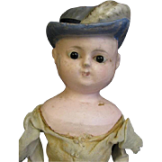 """SALE 15.5"""" Early Wax-Over Papier-Mache RARE MOLDED HAT c1840"""