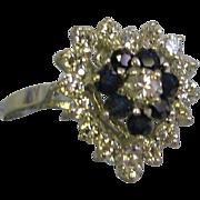 SALE Heart shaped 14 Karat White gold lady's 24 stone diamonds, blue sapphires ring size 7