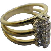 SALE 14 Karat Yellow Gold Lady's Fashion ring with 15 brilliant cut diamonds in size 7 13 Diam