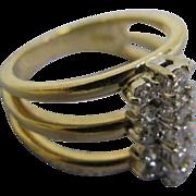 SALE 14 Karat Yellow Gold Lady's Fashion ring with 15 brilliant cut diamonds in size 7 13 Diam