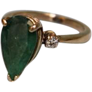SOLD 14k Yellow Gold Ladies Ring with a Pear Shaped Green Emerald 3.5 Carats!