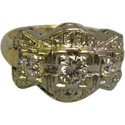 SALE Lovely 14 Karat White and Yellow Gold Ladies Ring Size 6.25 with 3 Diamonds