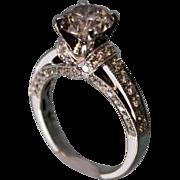 SALE 2 Carat 18 K White Gold HUGE Diamond Engagement Ring Round Center
