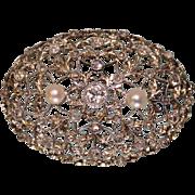 SALE Antique 14 K White Gold Diamond & Pearl Brooch .50 Center European Cut Diamond