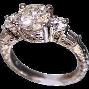 SALE Lady's Platinum & Diamond Ring 1.75 Center diamond + more diamonds Hand Chased