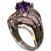 SALE 1950's Lady's 14Karat White-Gold and Amethyst Diamond Ring Very Beautiful