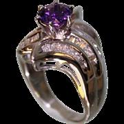 SALE 1950's Lady's 14Karat White-Gold and Amethyst Diamond Ring Very Beautiful