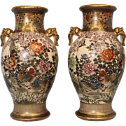 "SALE Pair of 2 Antique 12"" Satsuma Vases Signed Kizan birds,ducks Elephant handles"
